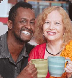 senior man and senior woman smiling